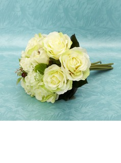 Elegant Hand-tied Satin Bridesmaid Bouquets (123032410)