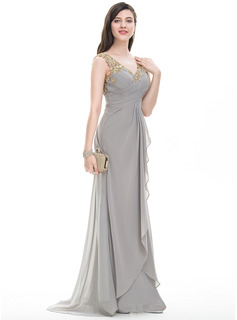 A-Line/Princess V-neck Sweep Train Chiffon Prom Dresses With Ruffle Beading Sequins (018093857)