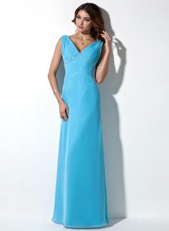 A-Linie/Princess-Linie V-Ausschnitt Bodenlang Chiffon Abendkleid mit Rüschen Perlen verziert (017039550)