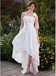 A-Line/Princess One-Shoulder Asymmetrical Chiffon Wedding Dress With Ruffle Beading Bow(s) (002025638)