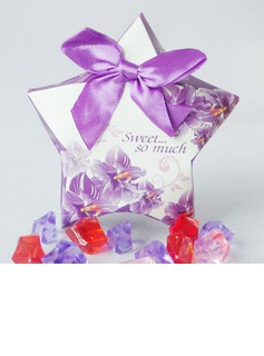 Floral Design Favor Boxes With Bow (Set of 10) (050040153)