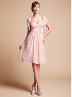 Empire Sweetheart Knee-Length Chiffon Bridesmaid Dress With Cascading Ruffles (007004126)