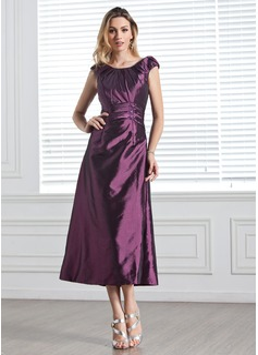 A-Linie/Princess-Linie U-Ausschnitt Wadenlang Taft Brautjungfernkleid mit Rüschen Perlstickerei Pailletten (007005303)