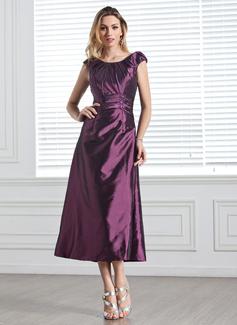 A-Linie/Princess-Linie U-Ausschnitt Wadenlang Taft Brautjungfernkleid mit Rüschen Perlen verziert Pailletten (007005303)