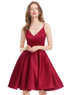 A-Line/Princess V-neck Knee-Length Satin Prom Dress (018133420)