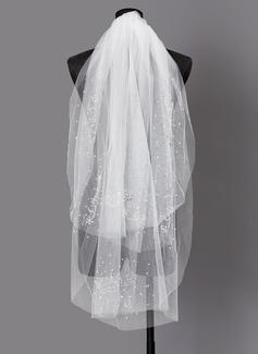 Dos capas Corte de borde Codo velos nupciales con La perla de faux (006203733)