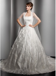 Ball-Gown Chapel Train Satin Lace Wedding Dress With Ruffle Beading (002000180)