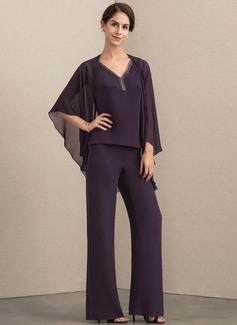V-Ausschnitt Bodenlang Chiffon Kleid für die Brautmutter mit Perlstickerei (008164064)