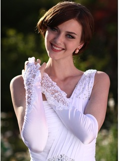 Elastic Satin Elbow Length Bridal Gloves (014005531)