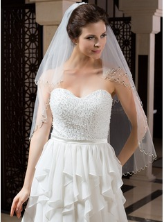 Two-tier Elbow Bridal Veils With Sequin Trim Edge (006035827)