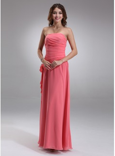 Burgundy Bridesmaid Dresses Sheath Strapless Floor-Length Chiffon Bridesmaid Dress With Ruffle Flower(s) (007001081)