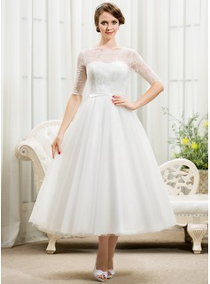 Ball-Gown Scoop Neck Tea-Length Tulle Lace Wedding Dress With Bow(s) (002055922)