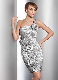Etui-Linie One-Shoulder-Träger Knielang Charmeuse Cocktailkleid mit Rüschen Blumen (016014725)