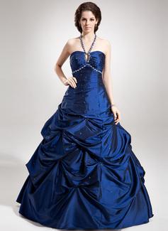 A-Linie/Princess-Linie Träger Bodenlang Taft Quinceañera Kleid (Kleid für die Geburtstagsfeier) mit Rüschen Perlen verziert (021020760)