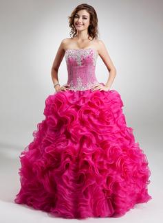 Duchesse-Linie Trägerlos Bodenlang Organza Quinceañera Kleid (Kleid für die Geburtstagsfeier) mit Perlstickerei Applikationen Spitze Pailletten Gestufte Rüschen (021016752)