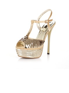 Satin Stiletto Heel Sandals Platform With Sequin shoes (087016608)