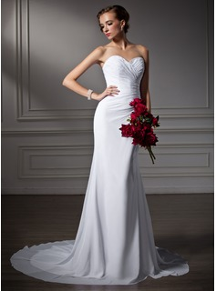 Trumpet/Mermaid Sweetheart Court Train Chiffon Wedding Dress With Ruffle Beading (002006370)