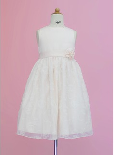 A-Line/Princess Tea-length Flower Girl Dress - Satin/Lace Sleeveless Scoop Neck With Sash/Flower(s) (010005342)
