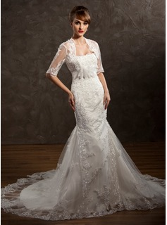 Trumpet/Mermaid Sweetheart Chapel Train Satin Tulle Wedding Dress With Lace Beading Flower(s) (002011411)