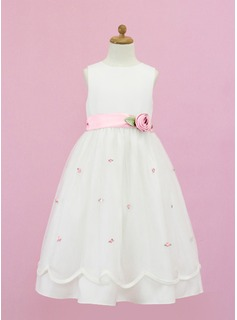 A-Line/Princess Scoop Neck Floor-Length Organza Satin Flower Girl Dress With Sash Flower(s) Bow(s) (010005335)