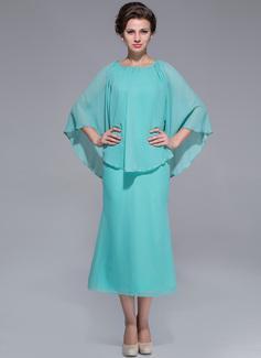 A-Line/Princess Scoop Neck Tea-Length Chiffon Mother of the Bride Dress (008025759)