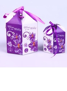Floral Design Favor Boxes With Ribbons (Set of 10) (050040152)