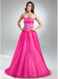 Ball-Gown Strapless Floor-Length Organza Prom Dress With Beading (018015546)