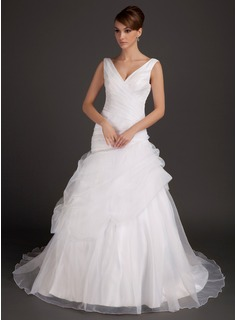 A-Line/Princess V-neck Court Train Organza Wedding Dress With Ruffle (002015496)