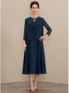 A-Line Scoop Neck Tea-Length Chiffon Mother of the Bride Dress With Beading Sequins (008179196)