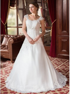 A-Line/Princess Sweetheart Court Train Organza Satin Wedding Dress With Ruffle Beading Appliques Lace (002000152)