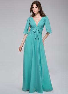 A-Linie/Princess-Linie V-Ausschnitt Bodenlang Chiffon Abendkleid mit Schleife(n) Gestufte Rüschen (022027056)
