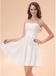 Cheap Homecoming Dresses A-Line/Princess Sweetheart Short/Mini Chiffon Charmeuse Homecoming Dress With Ruffle (022014405)