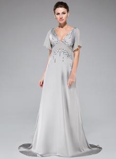 A-Linie/Princess-Linie V-Ausschnitt Sweep/Pinsel zug Satin-Chiffon Abendkleid mit Perlen verziert Pailletten Gestufte Rüschen (017047402)
