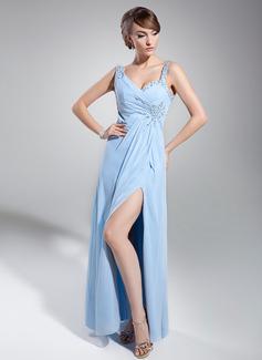 Empire-Linie Herzausschnitt Bodenlang Chiffon Abendkleid mit Rüschen Perlen verziert Pailletten Schlitz Vorn (017014690)