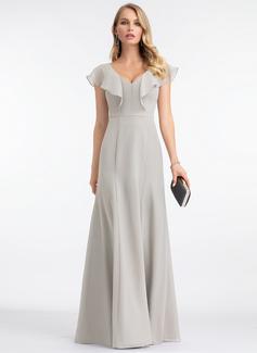 A-Line V-neck Floor-Length Chiffon Evening Dress (017198664)