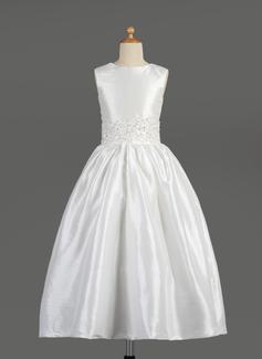 Vestidos princesa/ Formato A Longuete Vestidos de Menina das Flores - Tafetá Sem magas Decote redondo com Renda/Beading (010014609)
