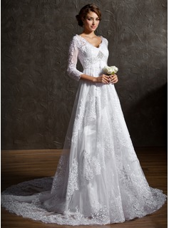 A-Line/Princess V-neck Court Train Tulle Lace Wedding Dress With Beading Sequins (002004758)