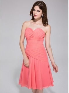 A-Line/Princess Sweetheart Knee-Length Chiffon Bridesmaid Dress With Ruffle (007026193)