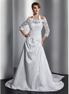 A-Line/Princess Halter Court Train Satin Wedding Dress With Ruffle Beadwork (002014807)