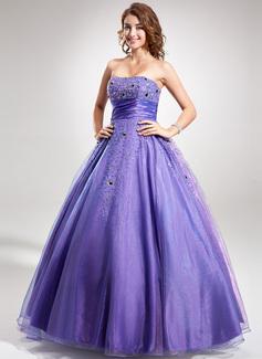 Duchesse-Linie Trägerlos Bodenlang Taft Quinceañera Kleid (Kleid für die Geburtstagsfeier) mit Rüschen Perlen verziert Pailletten (021016356)