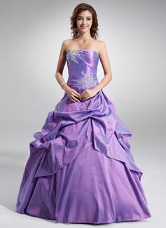 Duchesse-Linie Trägerlos Bodenlang Taft Quinceañera Kleid (Kleid für die Geburtstagsfeier) mit Rüschen Perlstickerei Applikationen Spitze Pailletten (021003123)