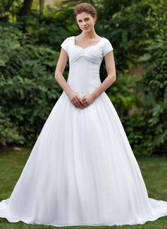 Ball-Gown Sweetheart Chapel Train Taffeta Wedding Dress With Ruffle Beading (002001623)