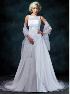 A-Line/Princess Scoop Neck Chapel Train Organza Satin Wedding Dress With Lace Beading (002000104)