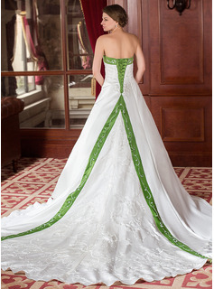 A-Line/Princess Strapless Royal Train Satin Wedding Dress With Embroidery Sash Beadwork (002000040)