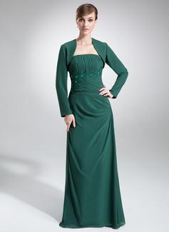 A-Linie/Princess-Linie Trägerlos Bodenlang Chiffon Kleid für die Brautmutter mit Rüschen Lace Perlstickerei Pailletten (008006421)