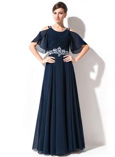 A-Linie/Princess-Linie U-Ausschnitt Bodenlang Chiffon Kleid für die Brautmutter mit Spitze Perlstickerei Pailletten Gestufte Rüschen (008054984)