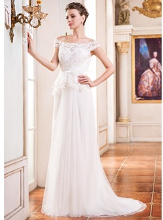 A-Line/Princess Off-the-Shoulder Court Train Tulle Wedding Dress With Beading Flower(s) Sequins (002050393)