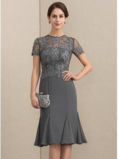 Sheath/Column Scoop Neck Knee-Length Chiffon Lace Cocktail Dress With Beading Sequins (016192781)