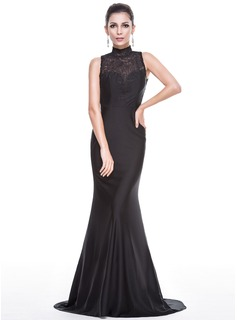 Trumpet/Mermaid High Neck Sweep Train Jersey Evening Dress (017051659)
