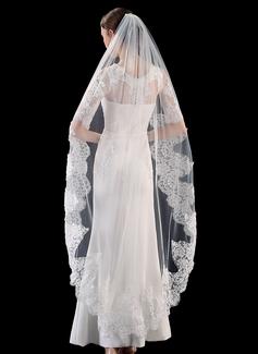 Uno capa Con Aplicación de encaje Velos de novia vals con Encaje (006201032)